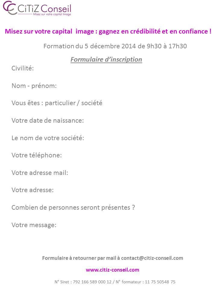 Formulaire d inscription 5 décembre 2014